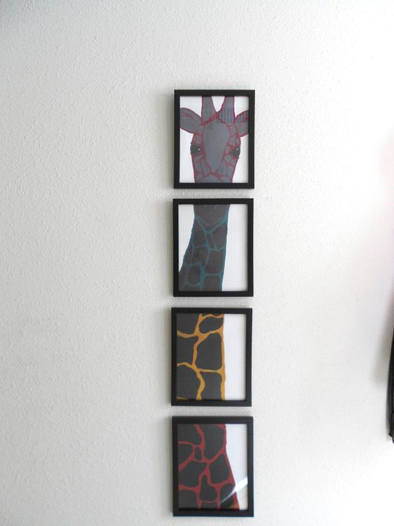 Giraffe Four Frame Artwork Print 8x10 Canvas by LadybugsArtshop, $95.00