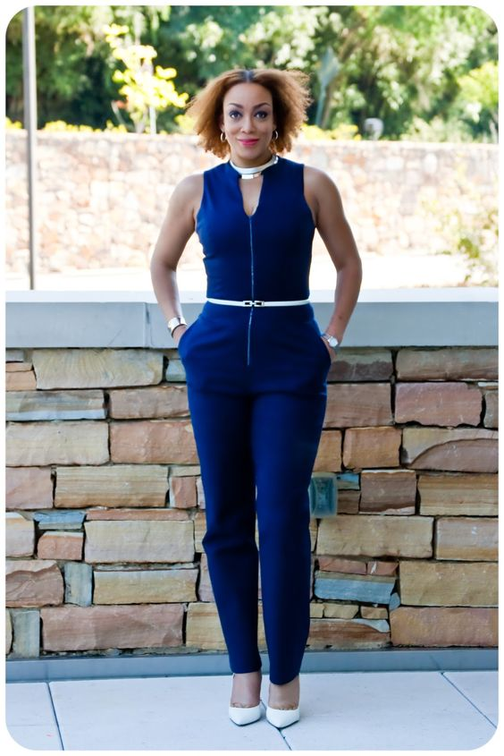 Navy Zip-Front Tailored Jumpsuit using modified versions of Vogue 8993 & McCall's 6930. Fabric is a navy stretch cotton twill from Mood Fabrics. Erica B's DIY Style!