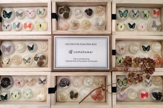 """DIC川村記念美術館さんはTwitterを使っています: """"【ミュージアムショップ】透明樹脂に蝶や貝殻など様々なモチーフを閉じ込めた、comahawaiの画鋲セット。丁寧に作られた木箱の中に小さな標本のような世界が広がっています。 https://t.co/QXBODgCw5Y"""""""