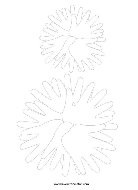 Pupazzo neve con le sagome delle mani