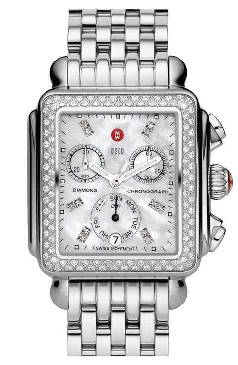 MICHELE 'Deco Diamond' Diamond Dial Watch Case & 18mm Bracelet