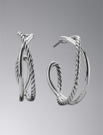 David Yurman Crossover Hoop Earrings - Neiman Marcus