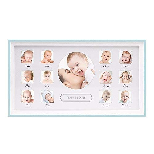 Sumgar Baby 039 S First Year Picture Frame Wood 12 Month Keepsake Collage Photo Frames Horizontial Blue New One Year Pictures Photo Collage New Baby Products