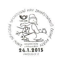 Tschechischer Sonderstempel zu den Nationalen Winterspielen der Postmitarbeiterv in Harrachov 2015