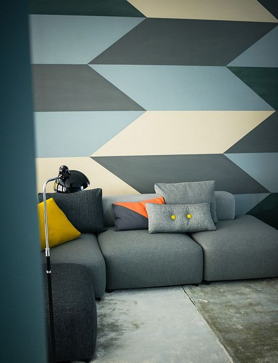 What a great wall treatment idea. Very modern and geometric.  Love this! #walltreatments #vlgcommunities