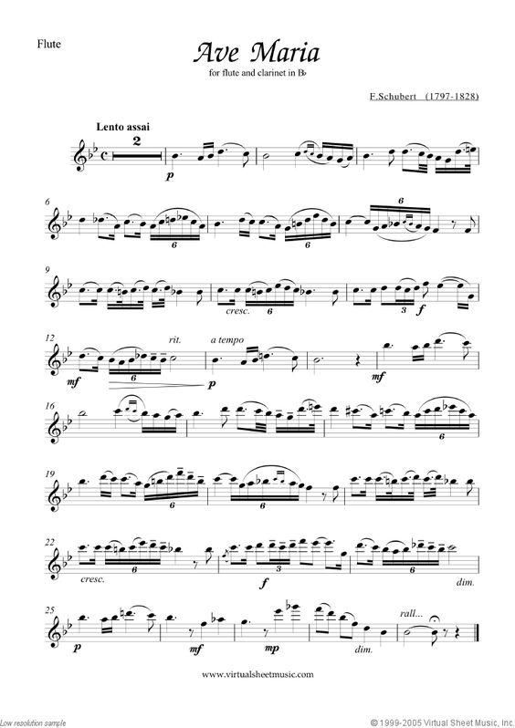 ave maria flute sheet music