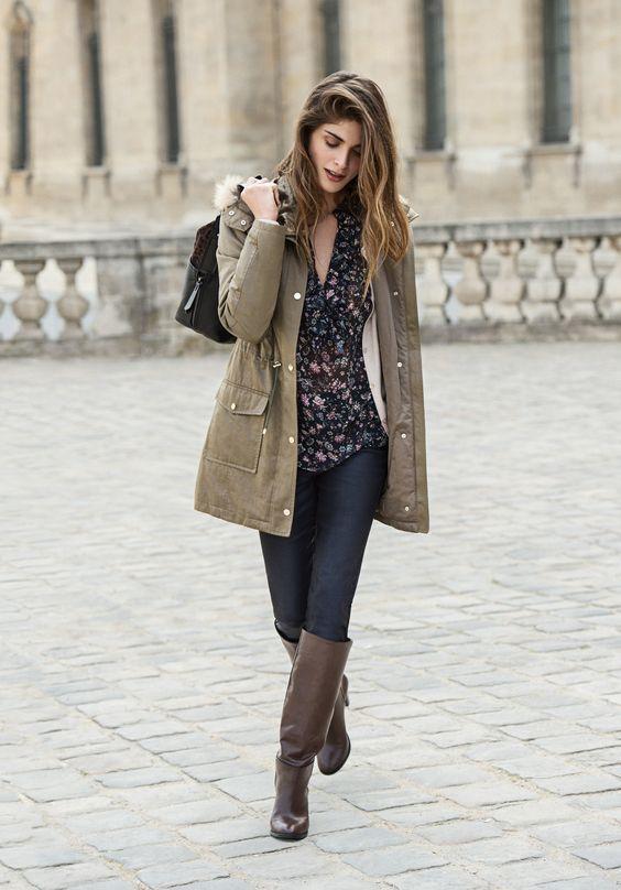 1.2.3 Paris - Collection Automne-Hiver 2016 - Parka Zora - Chemisier Florelle - Gilet Aloes - Jean William - Sac Oscar Bis - Bottes Ulysse #123paris #mode #fashion #shopping #automne #hiver #fall #winter #kaki #khaki