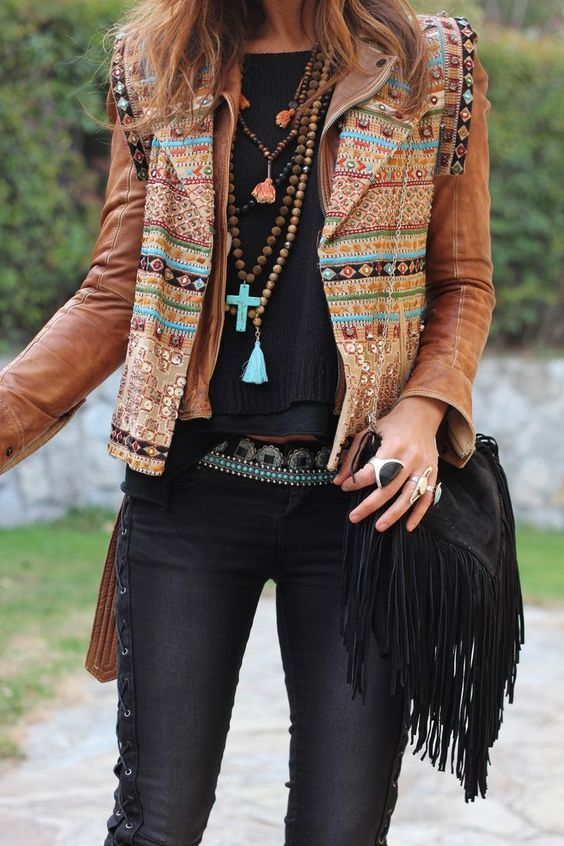 A boho take on the classic biker jacket with embroideries and embellishments. | Bohemian Fashion: