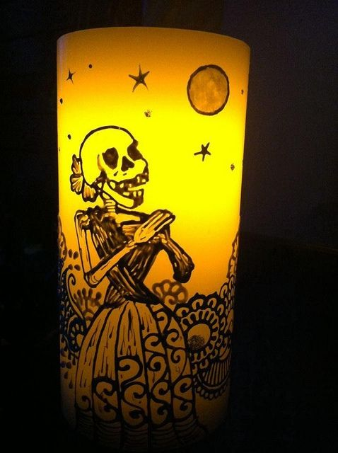 Day of the dead art done with fabric paint on LED candle ...