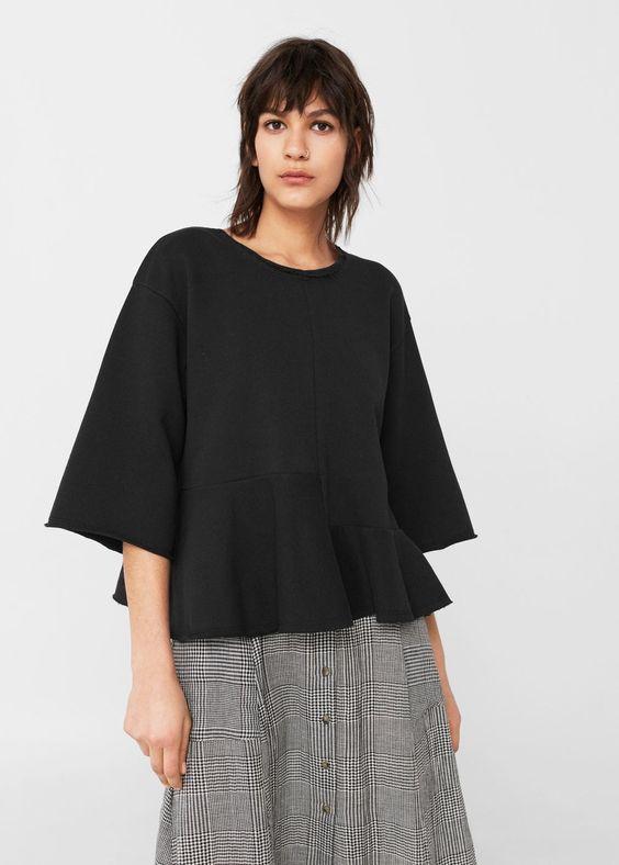 Sweat-shirt coton volants - Femme | OUTLET France