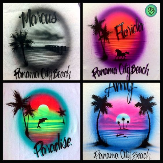 Airbrushed airbrush custom beach t shirt tshirt neon by AirWair, $14.95