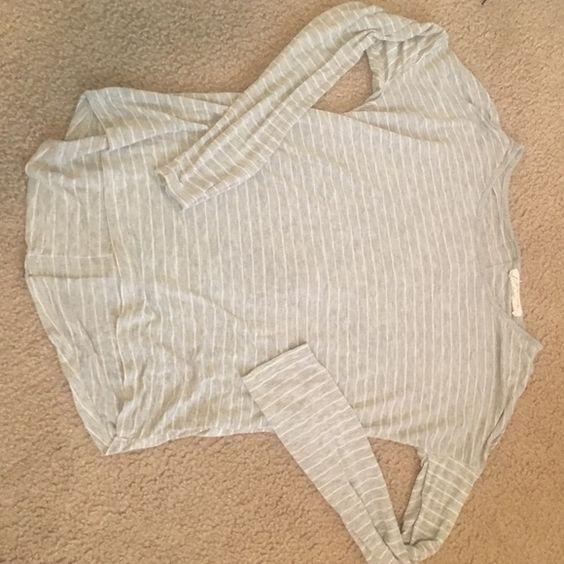 light sweater grey striped zip back Pink Rose Sweaters Crew & Scoop Necks