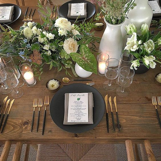 Close up on the dinner tables. Loving the combination of matte black copper and white ceramics. Interesting floral and textures gave the night a modern vibe! Stunning backed by Shane's mural art! @merrylbrownevents @elaneventrentals (tables with hairpin legs) @revelryeventdesign (chairs) via @angela4design