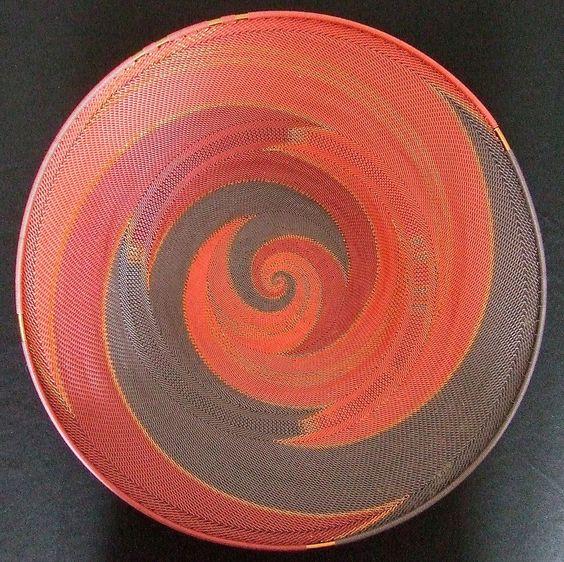 "16"" BASKET BOWL Plate Platter hand craft ZULU AFRICA telephone wire Red Swirl  #BlackFolkArt"