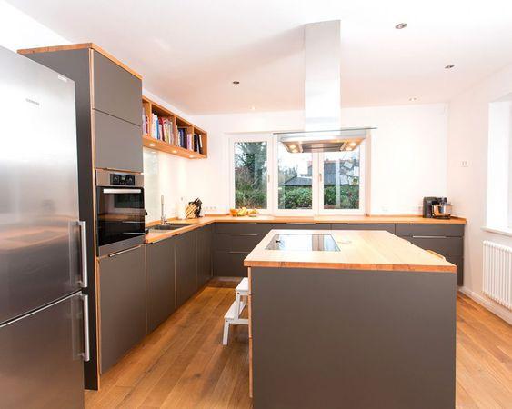 Küche Aufregend Küche Grau: Moderne Küche Buche Multiplex Hpl Beschichtung  Und Edelstahl Küche Grau Matt Küche Grau Grün | Küche Ideen | Pinterest
