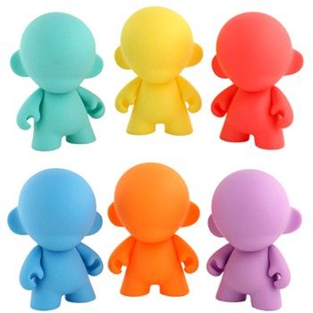 Rainbow 4in MUNNY  Mini MUNNY shows his true colors in a mystery rainbow assortment in which you get one of eight possible hues: teal, red, blue, orange, violet, yellow, green, or pink.  Each 4-inch figure comes with mystery accessory, stickers, and mini marker.