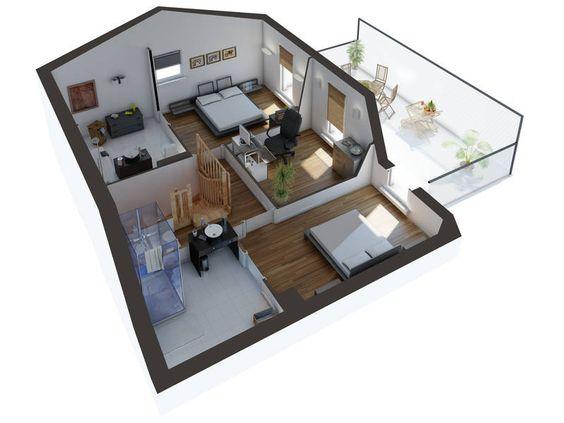 Plan 3D de maison type architecture Pinterest Architecture
