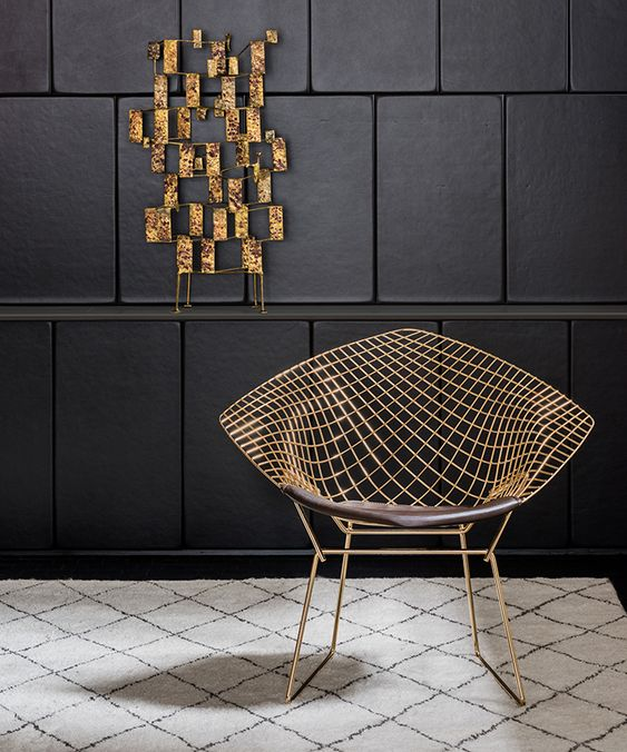 Harry Bertoia's Diamond Chair in 18k gold-plated steel | PC: Knoll | Knoll Inspiration: