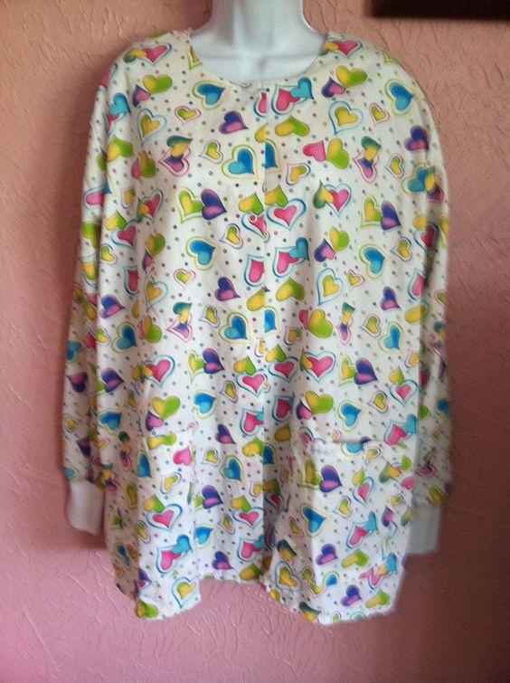 Landau Scrub jacket womens size L white hearts 2 pocket medical vet #Landau