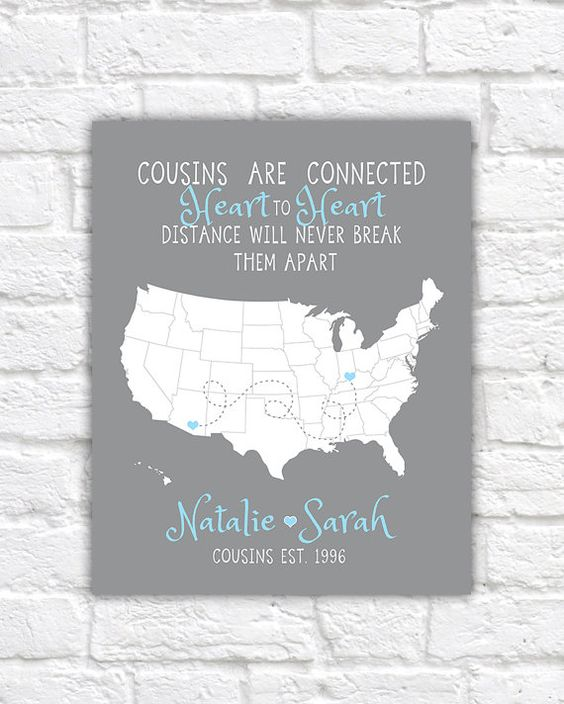 Cousin Gift, Christmas Gift For Long Distance Family, Cousins Quote