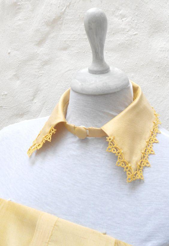 Collar de cuello amarillo, dupion seda francesa con tatted lace