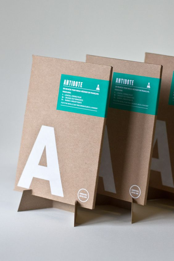 love the large white A, turquoise label / Antidote packaging by Nicolas Ménard