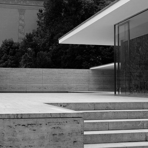 The Barcelona Pavilion by the master architect Ludwig Mies van der Rohe. A beautiful reinterpretation of the classical architectural element of a crepidoma or stylobate (base in modern English).