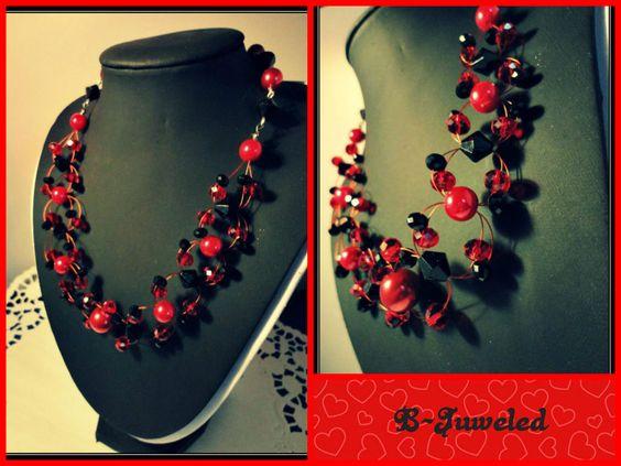 Handmade by B-Juweled  https://www.facebook.com/bjuweled.handgemaaktejuwelen  #jewels #handmade #accessories #red #black #necklace