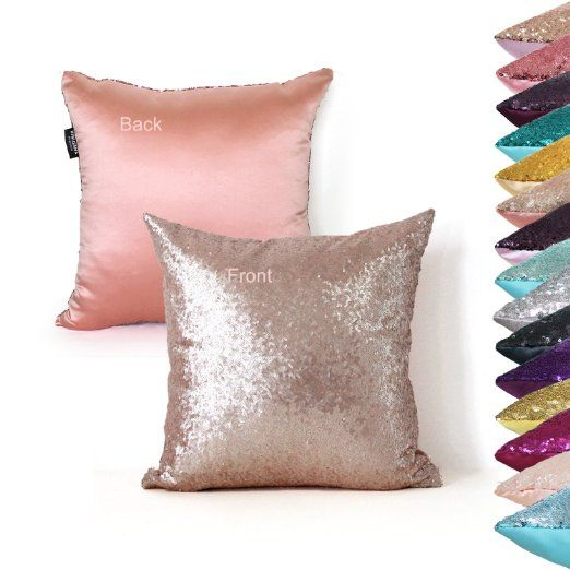 AMAZLINEN(TM) Decorative Glitzy Sequin & Comfy Satin Solid Throw Pillow Cover 18 Inch Square Pillow Case, Hidden Zipper Design, 1 Cover Pack Only(Champagne)