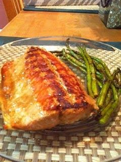 Honey Mustard Salmon and Barbeque Grilled Asparagus  #fish #katherineinthekitchen #dinner