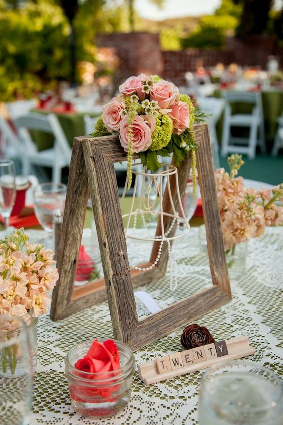 Cutest centerpiece frames with small rose wax flower