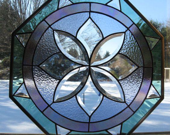 Boussole Rose octogonale vitrail panneau par TreasuresOfLight, $250.00