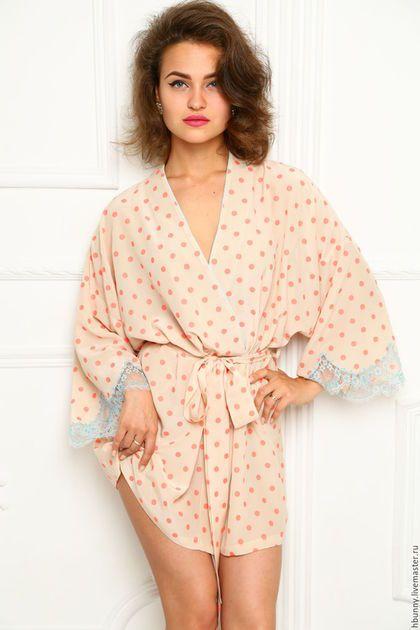 Халаты ручной работы. Ярмарка Мастеров - ручная работа. Купить Шелковый халат. Handmade. Бежевый, кимоно, кружево