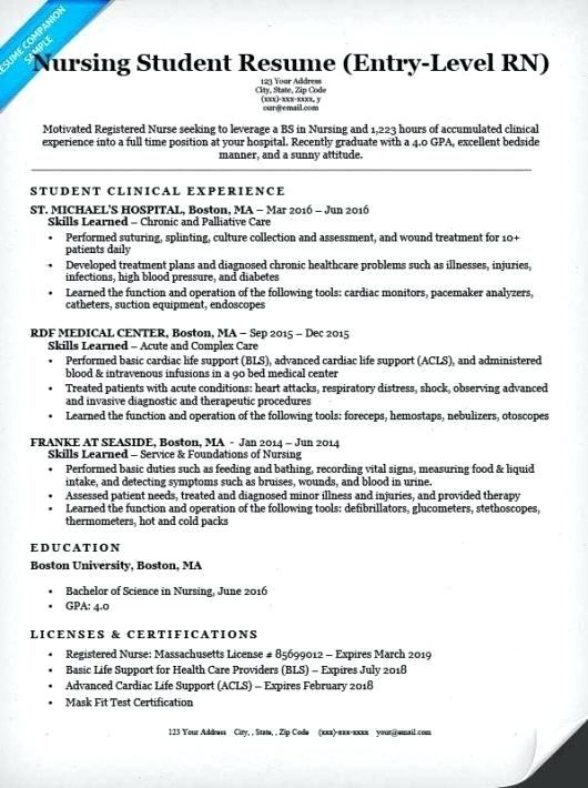 Examples Of Nurse Resumes Nurse Resume Samples Beautiful Entry