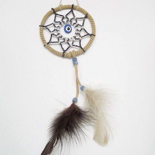 Handmade Beaded Dreamcatcher Blue Evil Eye Superstition | Beaded_Dreams - Housewares on ArtFire