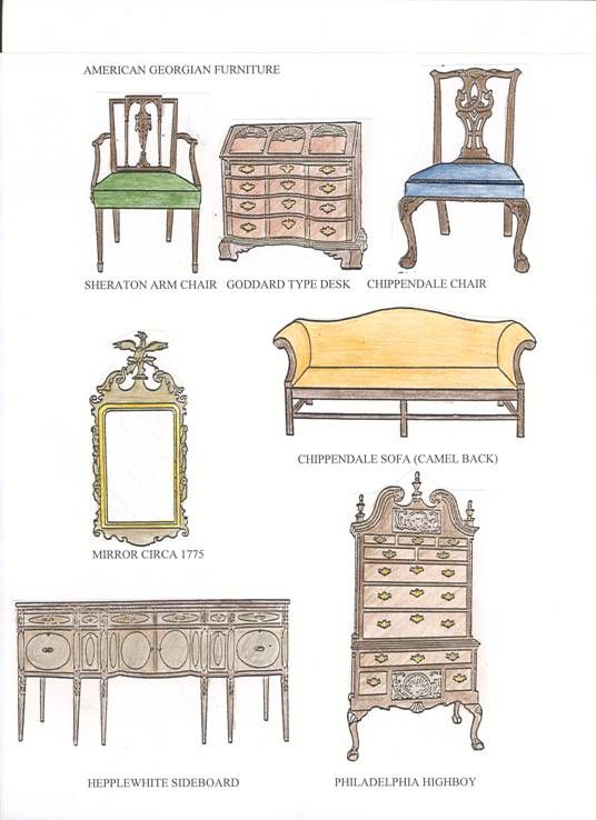 American georgian furniture queen anne furniture and boys for Types of interior designs styles