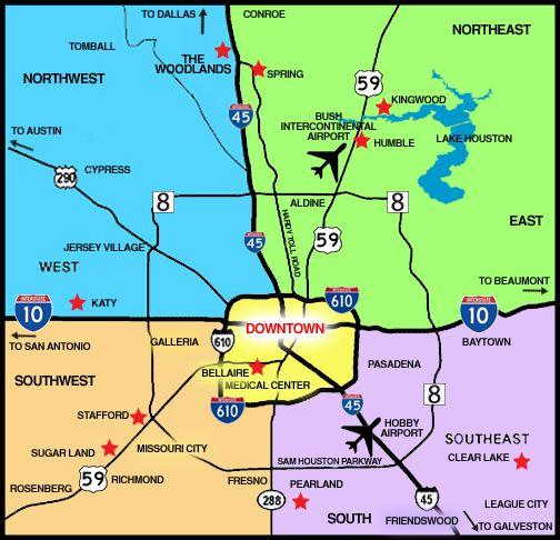 Greater Houston Area Map Houston Office Pinterest