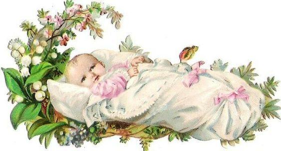 Oblaten Glanzbild scrap Baby   9cm  Kind Wickelpolster Maiglöckchen Mädchen