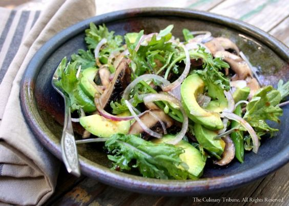 Portobello Steak and Avocado Salad with Wasabi Dressing
