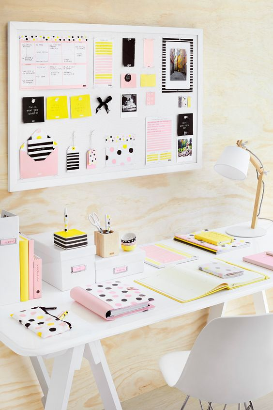 home office blonde wood and pastel kikki k essentials made from scratch blonde wood office