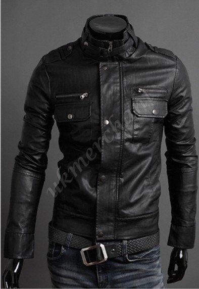 handmade Men Black Leather Jacket flap button pocket men black
