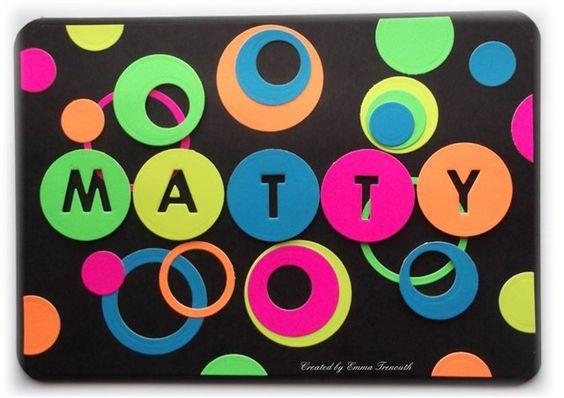 Funky, modern Teenage Boy male birthday card, Papermania neon card, circle dies and memory box alpha bet die.