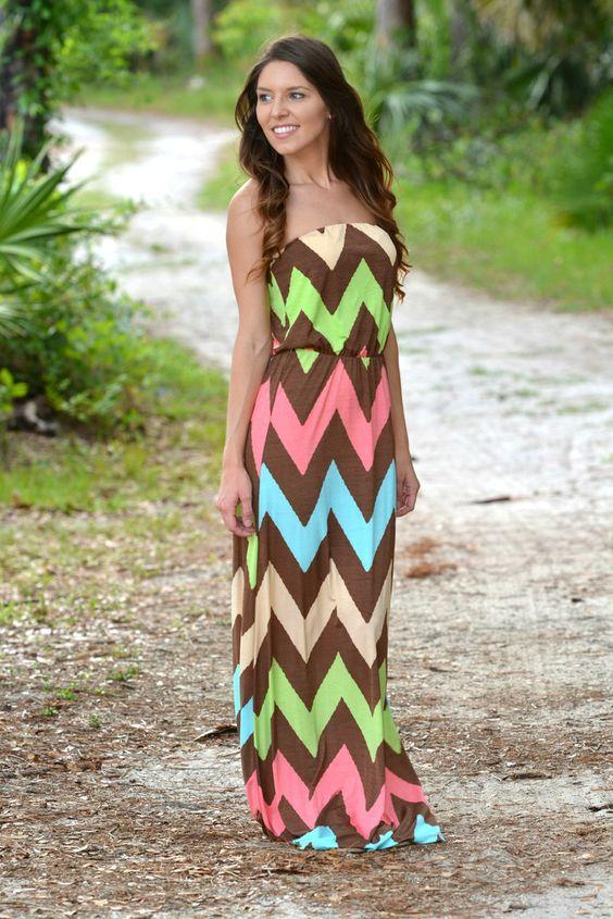Picture Perfect Chevron Strapless Maxi Dress - Shop Simply Me Boutique - www.shopsimplyme.com - Naples, FL