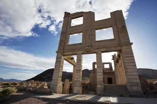 Ruins of the Cook Bank in the Rhyolite Ghost Town, Chris...
