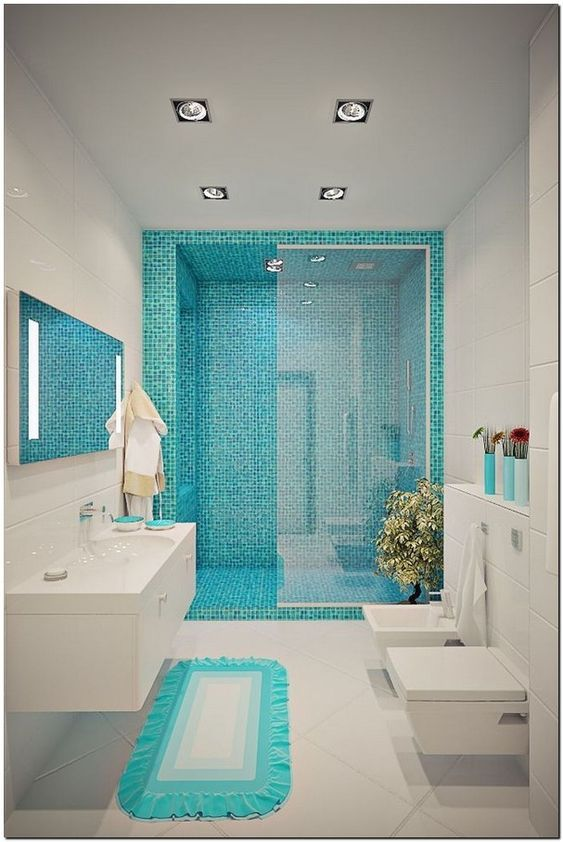 Blue Bathroom Ideas 24 Most Attractive Decors With Soothing Vibe In 2020 New Bathroom Designs Bathroom Design Small Beautiful Bathroom Decor