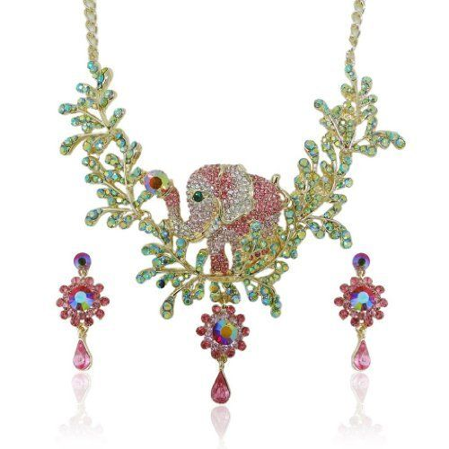 """Ever Faith Elephant Lots Leaf Daisy Flower Pink Austrian Crystal Necklace Earring Set Ever Faith. $41.95. It is simple yet gives a truly exotic look.. 1.65"""" L by 0.71"""" W. A lovely piece of art."""