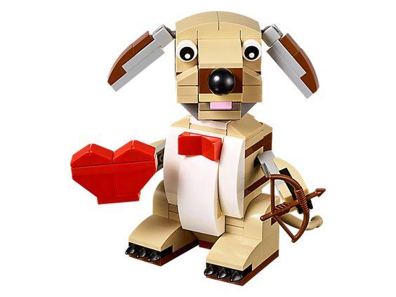 Mit dem LEGO® Valentinstag-Hund kannst du Liebespfeile abfeuern!