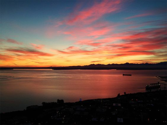 Sunset view from the Space Needle in #Seattle