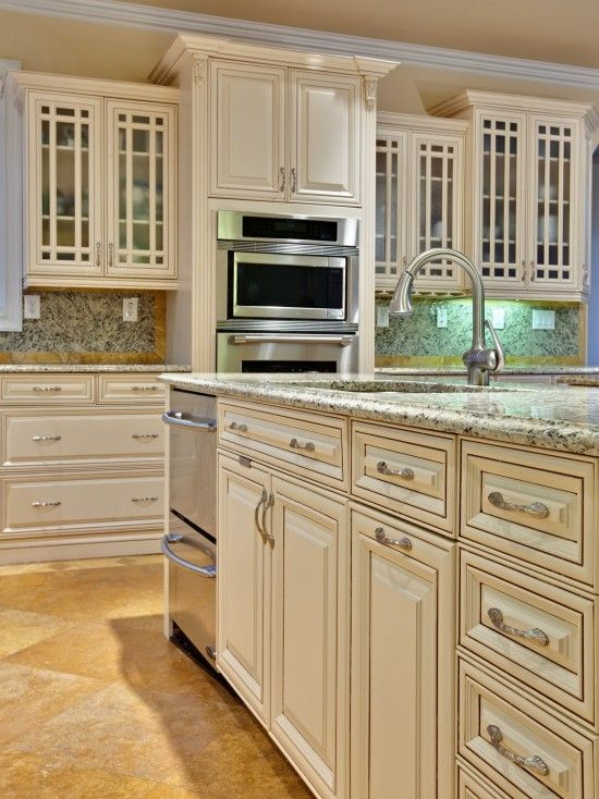 Cappucino Glaze On Off White Cabinets Design Pictures Remodel Decor And Id Antique White Kitchen Antique White Kitchen Cabinets Traditional Kitchen Cabinets