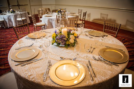 Gold and Ivory Wedding, Gold Chargers.  Grand Ballroom, Tampa Westshore Marriott